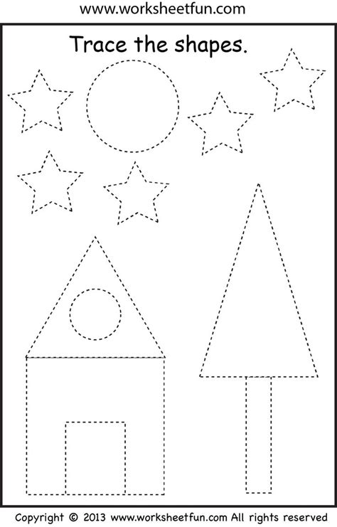 preschool shape tracing worksheet trees 402 | bea279506a8679a72e1d60f213f62d61
