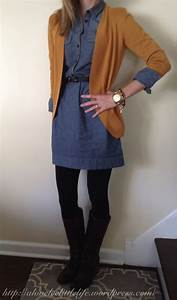 Denim shirt dress + tights + boots + cardigan | Fashion ...