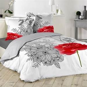 Housse De Couette Fleurie : housse de couette rouge linge de lit eminza ~ Melissatoandfro.com Idées de Décoration