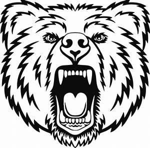 Amazing outline roaring bear head tattoo design ...