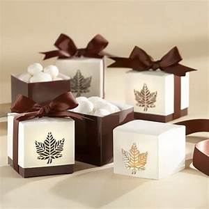 holiday favor boxes chocolate brown fall leaf favor boxes With fall wedding favor boxes