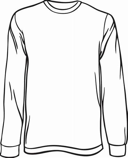 Sleeve Shirt Template Clipart Blank Outline Drawing