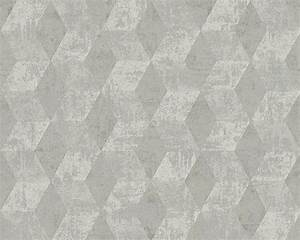 vliestapete raute 3d optik glanz grau livingwalls 30654 2 With balkon teppich mit tapete livingwalls