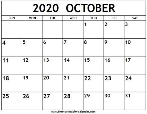 oct  calendar printable printable calendar
