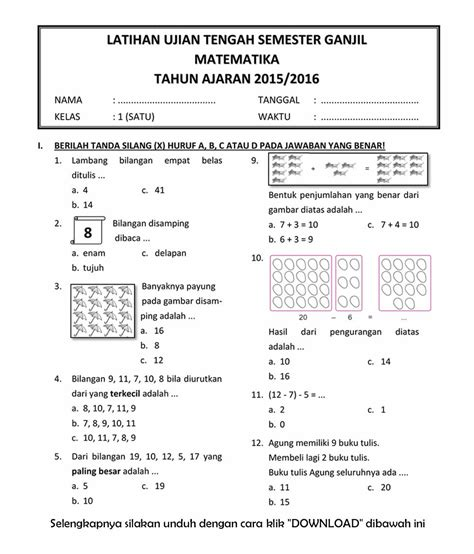 Dibawah ini soal soal penilaian harian atau ulangan harian kelas 3 sd / mi untuk semester ganjil sesuai dengan sumber buku bse. Download Soal UTS Ganjil Matematika Kelas 1 Semester 1 T.A ...