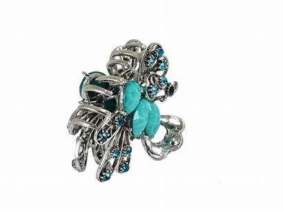 Bling Hair Clip Butterfly Jeweled Peacock Rhinestone