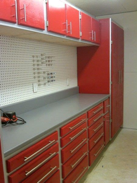 garage cabinets similar   idea red cabinets grey