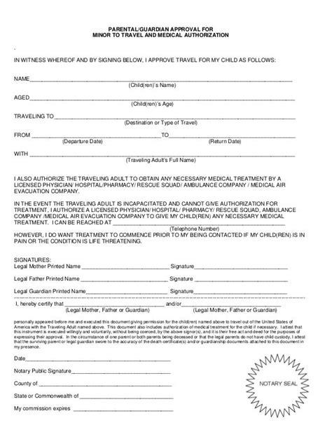 minor consent letter children travel  child print