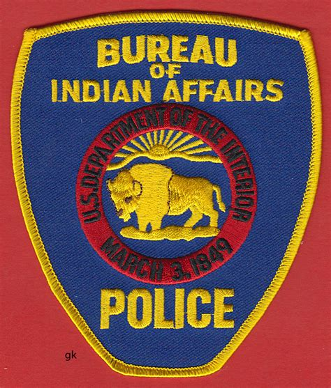 bia bureau of indian affairs bureau indian affairs dept interior shoulder patch