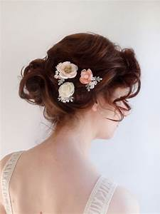 Bridal Hair Piece Flower Hair Pins Blush Flower Ivory