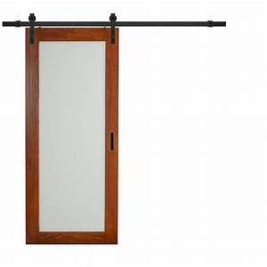 truporte 36 in x 84 in cherry mdf frosted glass 1 lite With barn door specs