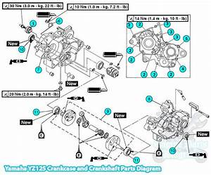 Yamaha Yz125 Engine Crankcase And Crankshaft Parts Diagram