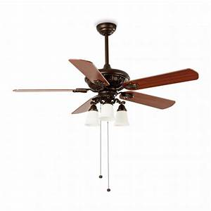 Ceiling fan in classic brown rustic with three w bulbs