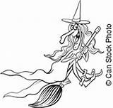 Illustration Cartoon Witch Illustrations Hag Sorceress Coloring Clipart Halloween sketch template