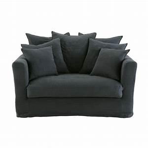 Canapé Maison Du Monde Gris : canap lit 1 2 places en lin gris charbon maisons du monde ~ Dallasstarsshop.com Idées de Décoration