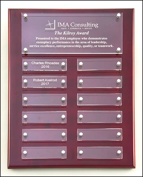 rosewood perpetual plaque  clear acrylic inscription