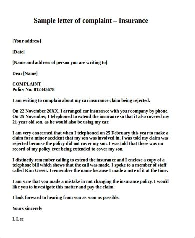 complaint letter   samples  word