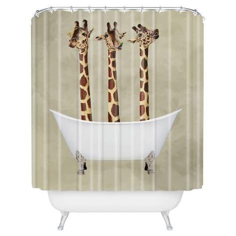 giraffe shower curtain brown deny designs target