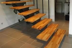 Marche D Escalier En Chene : exemple d 39 escalier tournant bois m tal avec marches en bois massif ~ Melissatoandfro.com Idées de Décoration