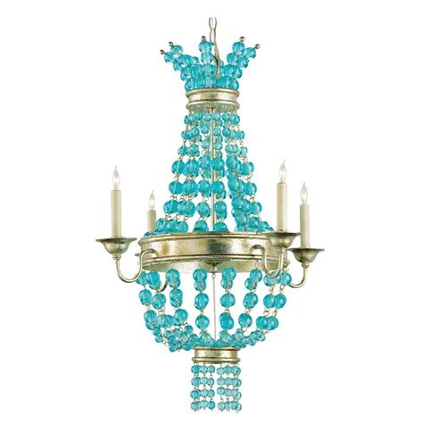 Aqua Chandelier by Lea Aqua Blue Glass Bead Chagne Leaf 4 Light Chandelier