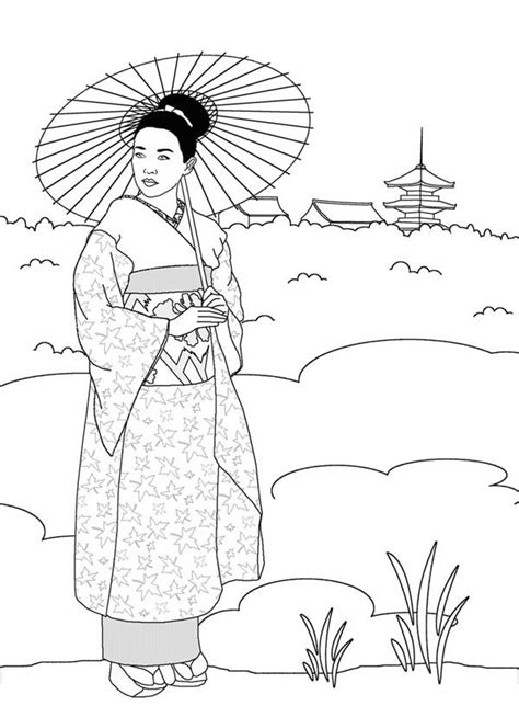 geisha  japan land coloring page netart