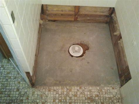 shower floor repair demo  pre pan creative tile works
