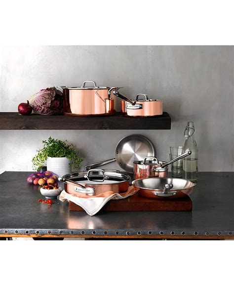 martha stewart collection tri ply copper  pc cookware set created  macys reviews