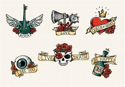 Skull Vector Tattoo Roses Ribbons Clipart Graphics