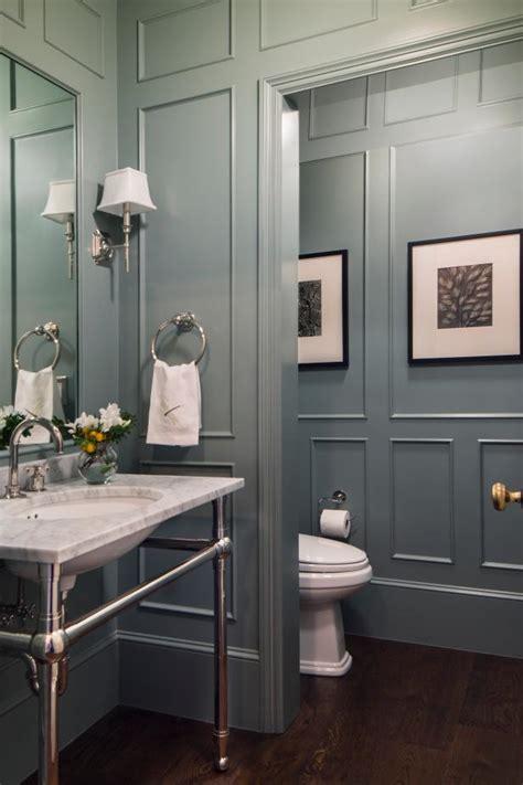 blue traditional powder room  molding hgtv