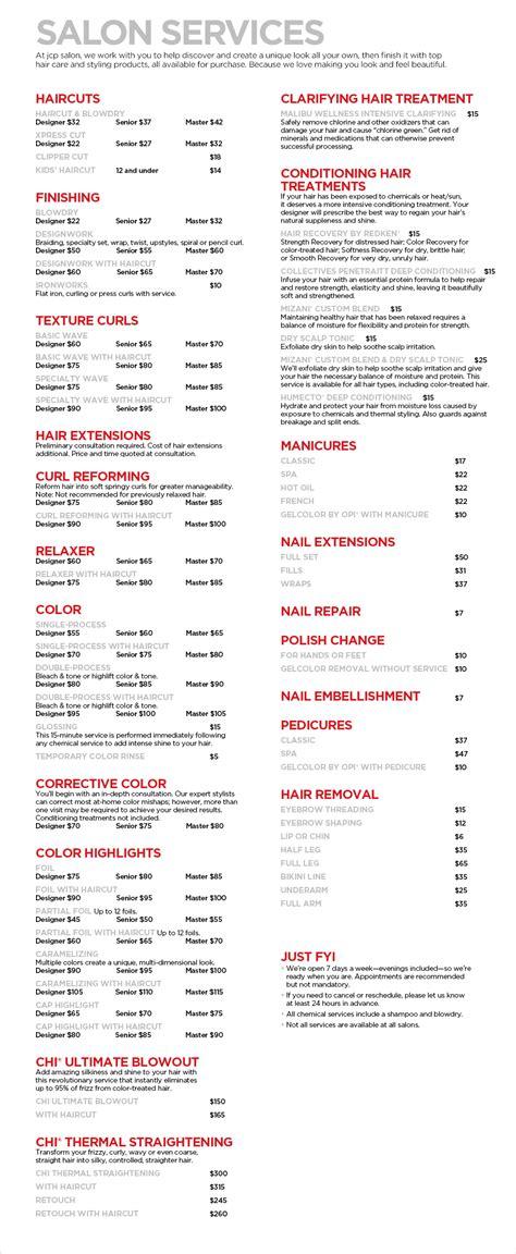 jcp salon services haircuts manicures pedicures