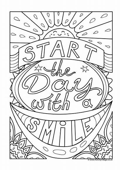 Colouring Smile Pages Quotes Start Activity Village
