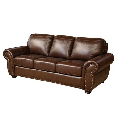 abbyson living leather sofa abbyson living elm leather sofa in brown sk 24602 brn 3
