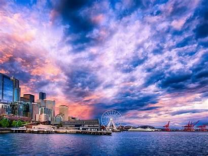 Seattle Desktop Sunset Wallpapers Waterfront Backgrounds Washington
