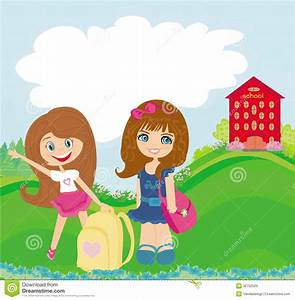 Happy Girls Go To School Stock Photos - Image: 36732503
