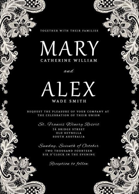 Wedding Invitation Elegant Black and White Lace by ...