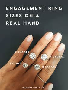 what does the engagement ring go on a side by side carat comparison of different engagement ring sizes whowhatwear