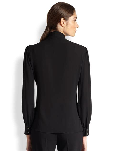 michael kors blouse lyst michael kors silk georgette necktie blouse in black