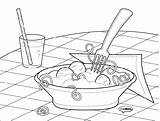 Pasta Coloring Spaghetti Colouring Drawing Template Noodles Noodle Italian Getdrawings Sketch sketch template
