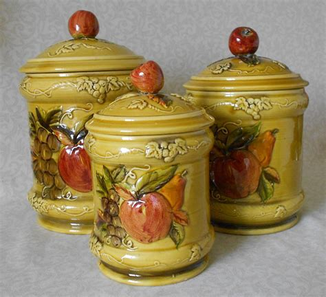 apple canisters for the kitchen ceramic kitchen canisters 1968 lefton apple pear pattern