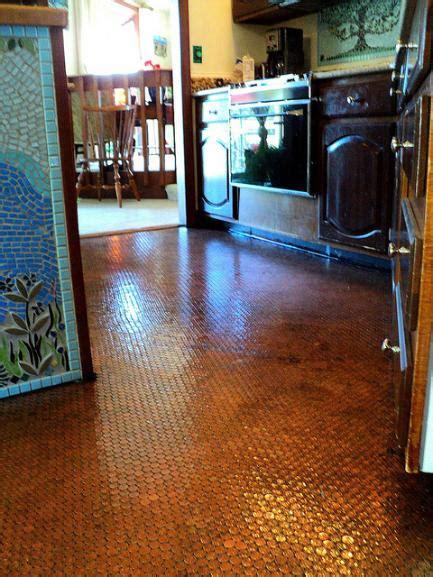 Kitchen Floor Of Pennies by Mandolin Mosaics