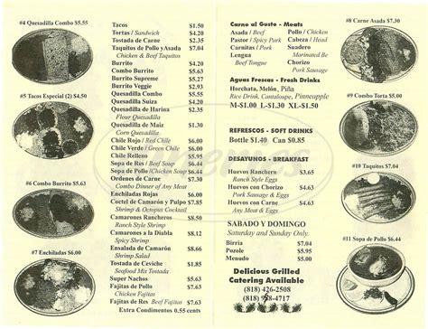 taqueria el tapatio menu woodland dineries