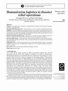 Humanitarian Logistics in Disaster Relief Operations ...