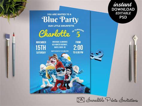 5th birthday invitation card template printable smurfs 5th birthday invitation template