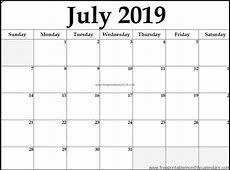 Free Printable Calendar July 2019 Free Printables 2019