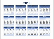 Download printable calendar 2019 for wall and desktop