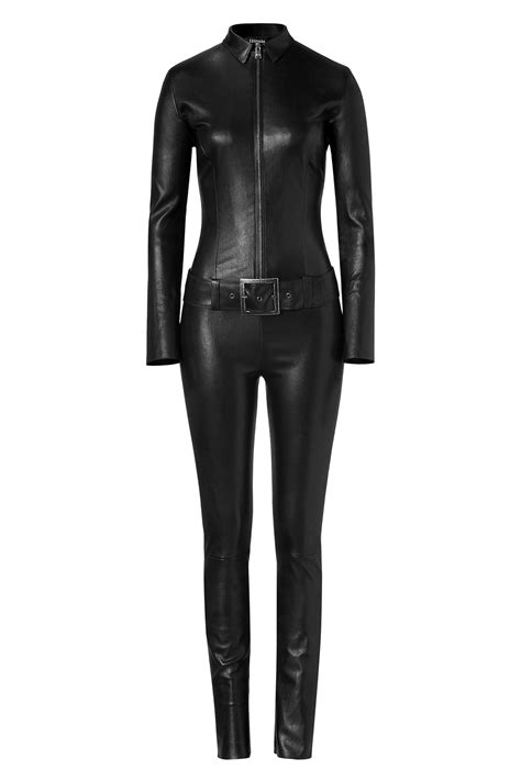 leather jumpsuits jitrois black leather belted kill jumpsuit in black lyst