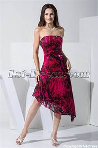 Fuchsia and Black Asymmetrical Printed Prom Dress WD1-012 ...