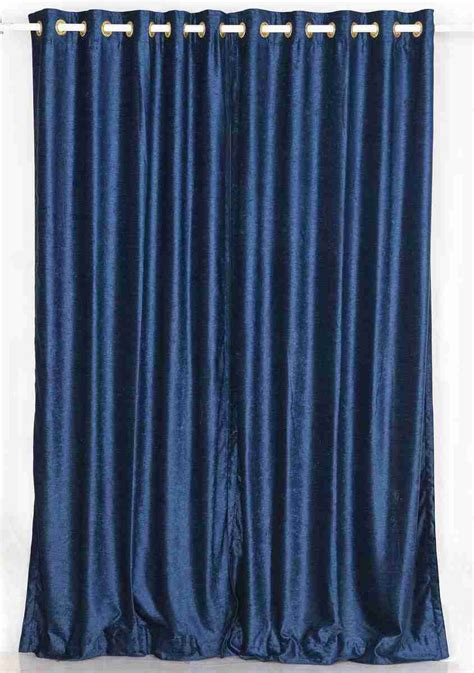 navy blue ring grommet top velvet curtain drape - Blue Draperies