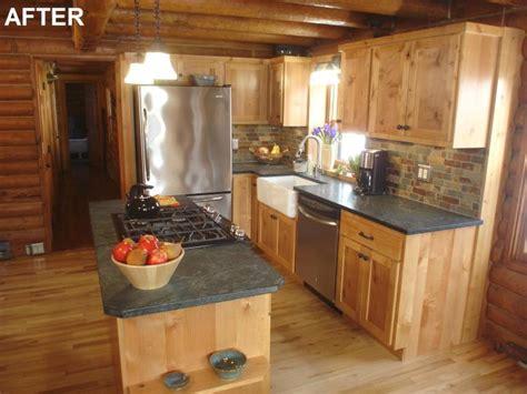 log cabin kitchen backsplash ideas diy network s sweat equity log home kitchen remodel