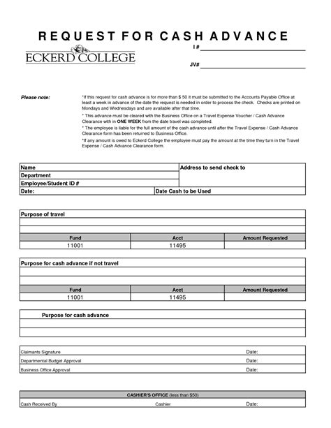 sample employee cash advance form